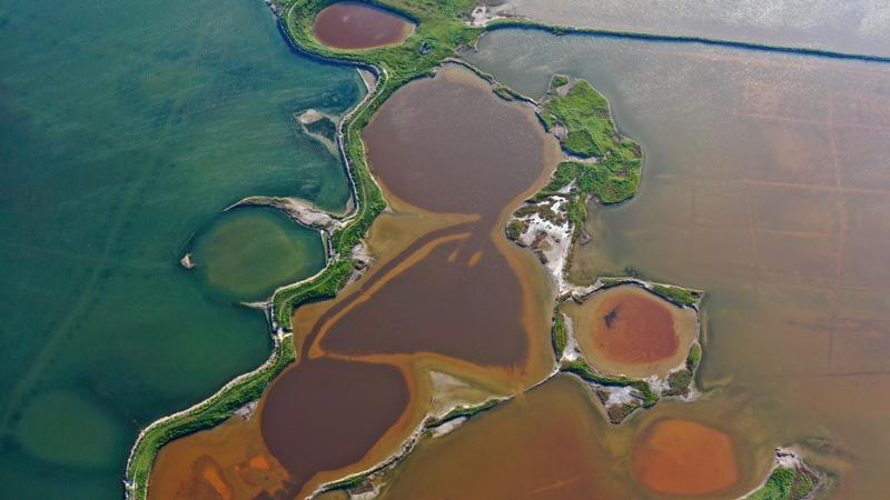 秋の塩湖に鮮やかな色彩 山西省運城市